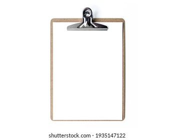 Photo of paper with blank clipboard isolated on white background. Brown clipboard