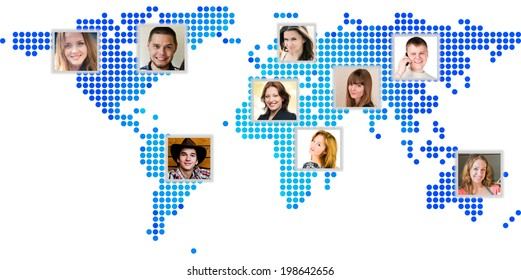 Photo of people at world map. International communication concept