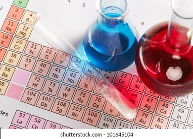 Photo of a periodic table of the elements with flasks and test tube containing chemicals both liquid and powder.