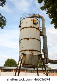 Photo Picture of Grungy weathered steel industrial silo