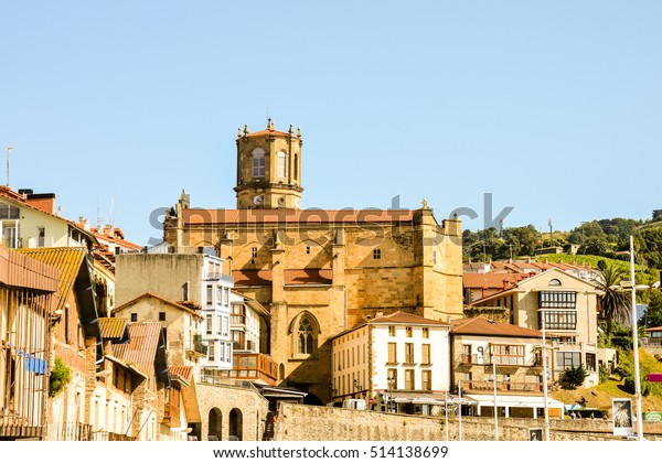 Photo picture landscape in Town of Getaria Basque Country Spain