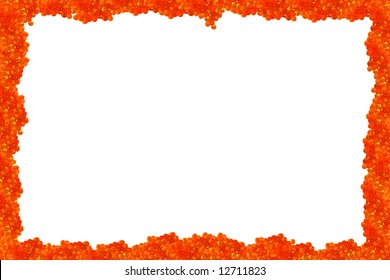 Photo, picture or menu frame with a sunny red caviar
