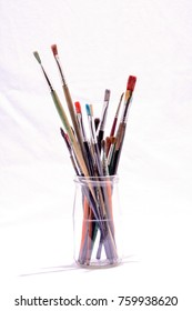 Photo Picture of some Old Dirty Used Paintbrushes