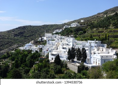 Photo of picturesque beautiful village of Kardiani with traditional Cycladic architecture, Tinos island, Cyclades, Greece