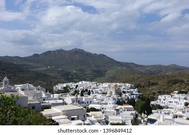 Photo from picturesque beautiful village of Pirgos or Panormos famous from traditional marble artists, Tinos island, Cyclades, Greece
