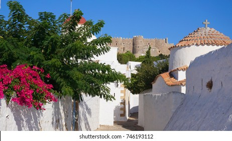 Photo from picturesque chora in island of Patmos, Dodecanese, Greece