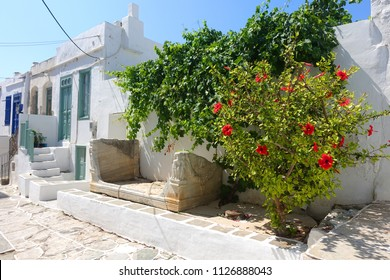 Photo from picturesque and iconic and historic village of Kastro with whitewashed Cycladic houses and breathtaking  views to deep blue Aegean sea, island of Sifnos, Cyclades, Greece