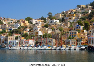 Photo from picturesque port called Yalos in island of Symi, Dodecanese, Greece