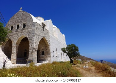 Photo from picturesque uphill church of Panagia (Virgin Mary) with stunning views to chora of Folegandros island and deep blue Aegean sea, Cyclades, Greece
