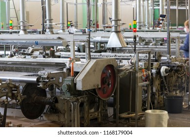 Photo of polyethylene filament production at the plant, automated work of machine tools