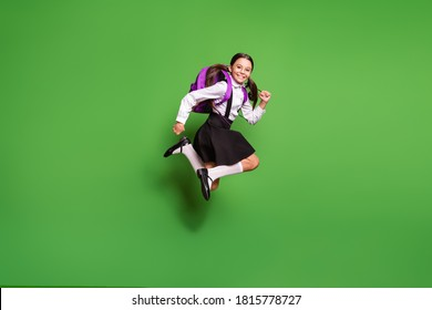 Photo portrait of brunette schoolgirl with pigtails running jumping up with violet backpack isolated on vivid green colored background