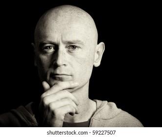 photo portrait male shaved head close up
