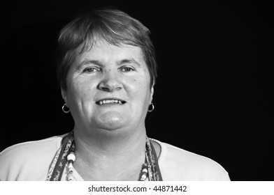 photo of portrait senior female mother in black and white