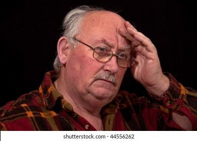 photo portrait of sick senior male