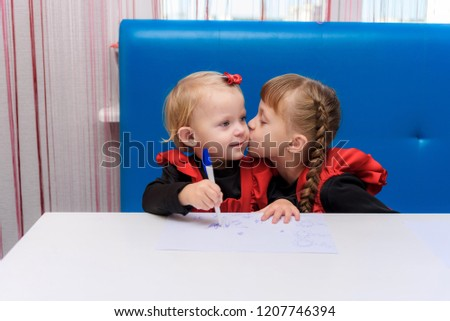 Photo Portrait Two Cute Girls Sisters Stock Photo Edit Now