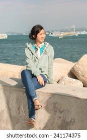 Photo - portrait of a Vietnamese girl - tourist