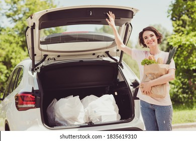 Photo of positive girl have lifestyle weekend shopping drive ride car buy market bread, leek vegetables open trunk hold bags in city center outdoors