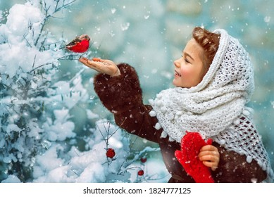 Photo as a postcard in vintage style depicting a small girl in a white downy shawl and red mittens, smiling and feeding a bullfinch bird from her hand, while white fluffy snow is falling around. - Shutterstock ID 1824777125