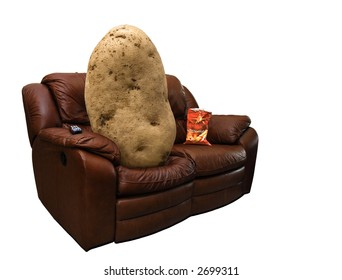 Photo of a potato on a leather couch with a bag of chips.