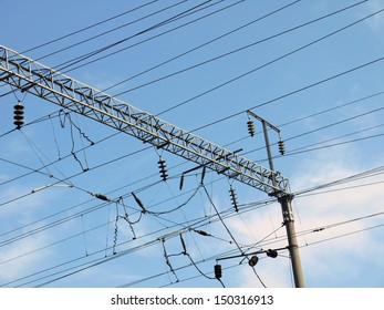 Photo power lines along the railway