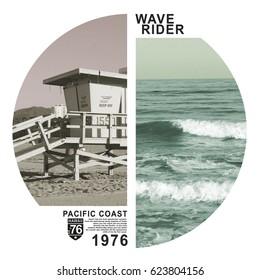 Photo print California beach , tee shirt graphics, wave rider surf,