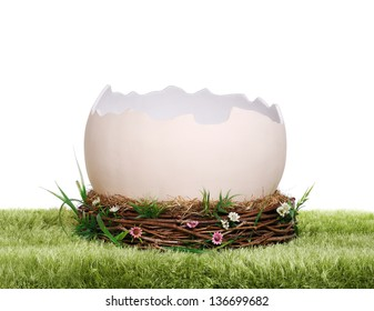 Photo prop egg shell in nest on grass rug
