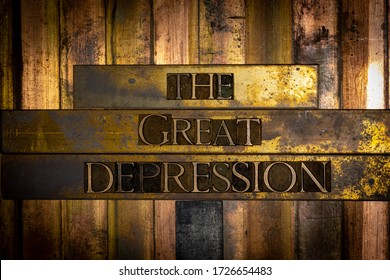Photo of real authentic typeset letters forming The Great Depression text on vintage textured grunge copper and black background