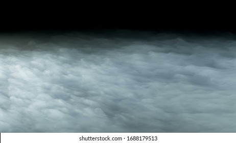 Photo of Realistic Clouds on black dark Background.