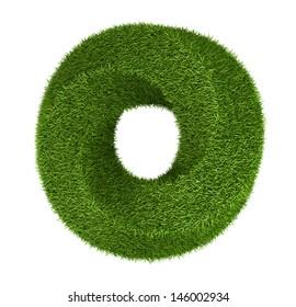Photo realistic grass torus, donut, ecology theme on white