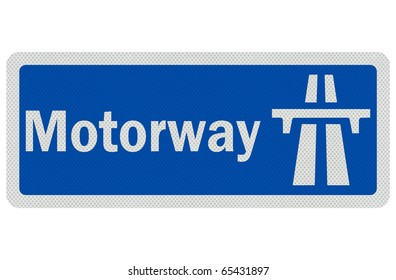 Photo realistic metallic, reflective ' Motorway' sign, isolated on pure white