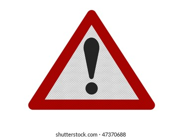 Photo realistic reflective metallic 'caution' sign, isolated on a pure white background.