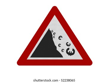 Photo realistic reflective metallic 'falling Euro' sign, isolated on a pure white background.