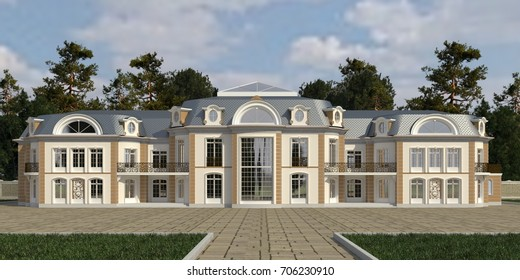 Photo realistic render of the house 3d illustration.