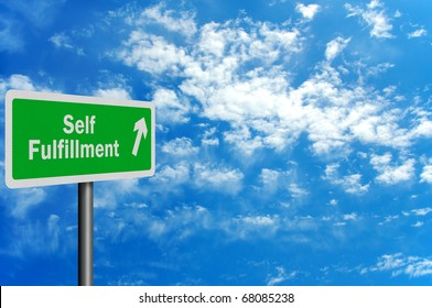 Photo realistic 'route to self fulfillment' sign with space for your text overlay