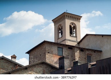 photo of a rectangular bell tower in Bergamo, Italy
