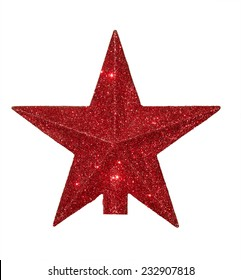 Photo of red Christmas star for Christmas tree. Isolated.