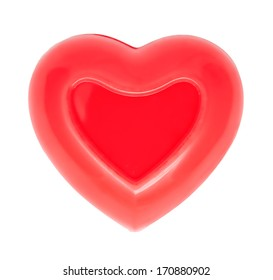 Photo of a red heart on white