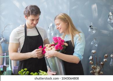 photo of regular job of florists. friendly workers