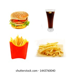 Photo retro background set with french fries and burgers on aisolated photo on white photo