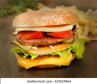 Photo retro background set with french fries and burgers on a dark background