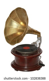 Photo of retro gramophone isolated over white background. With clipping path