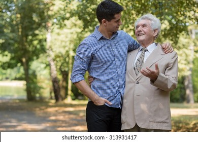 Photo of rich elderly male and his private carer