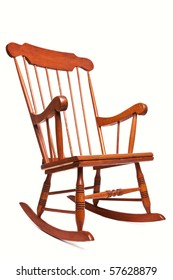 Photo Of A Rocking Chair Isolated On A White Background