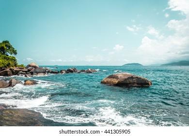 Photo of Rocky Beach at Beautiful Island (Ilhabela) in San Paulo (São Paulo), Brazil (Brasil)