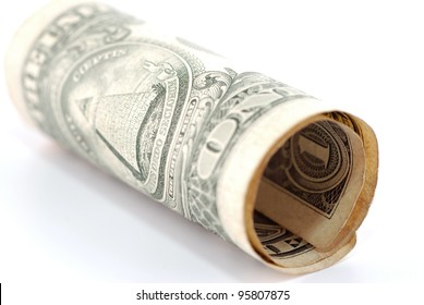 photo of rolled one USA dollar bill
