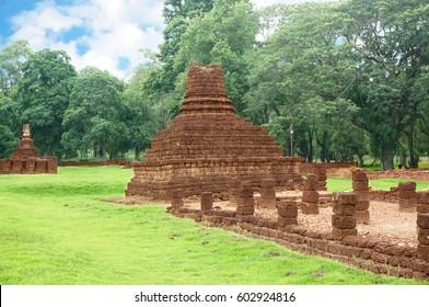 A photo of ruin of  pagoda and stone pillar, is a World Heritage at Si Satchanalai Historical Park, Sukhothai, Thailand