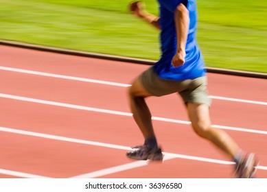 It is a photo of running blur sporter.