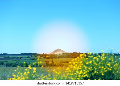 Photo of Russian mountain landscape against the background of fields and sky