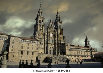 """photo of the Saint James Cathedral, the end of the """"Way of Saint James"""". in Santiago de Compostela"""