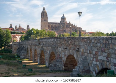 Photo of Salamanca Cathedral and the old Roman bridge, Spain